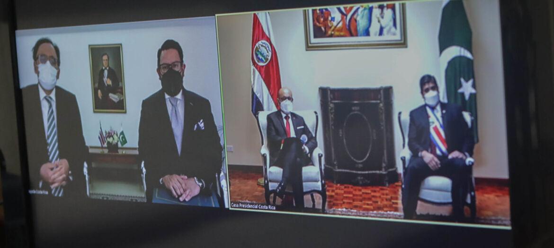 Presentacion cartas credenciales embajador de Pakistan Aman Rashid en Costa Rica, vía remota virtual desde México, 29 julio 2021. Foto: Roberto Carlos Sánchez @rosanchezphoto